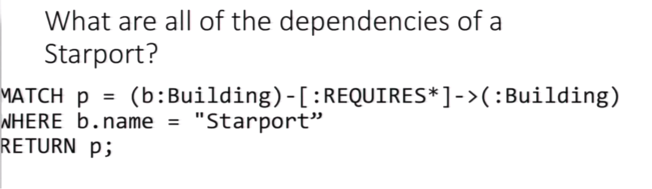 A Cypher Query for Dependencies of Building a Starport