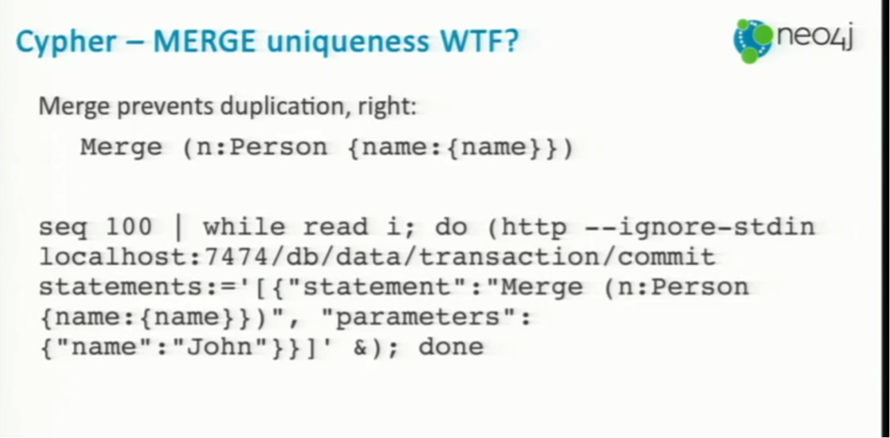 MERGE Uniqueness in Cypher with Neo4j