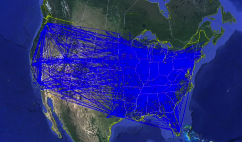 U.S. Airline Connections in a Spatial Graph