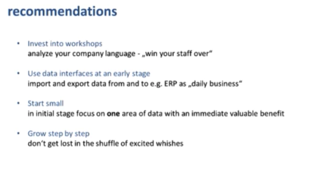 Recommendations for Semantic Product Data Management