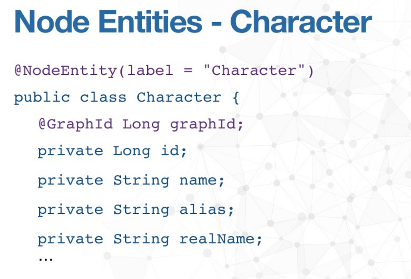 The Node Entities of Characters