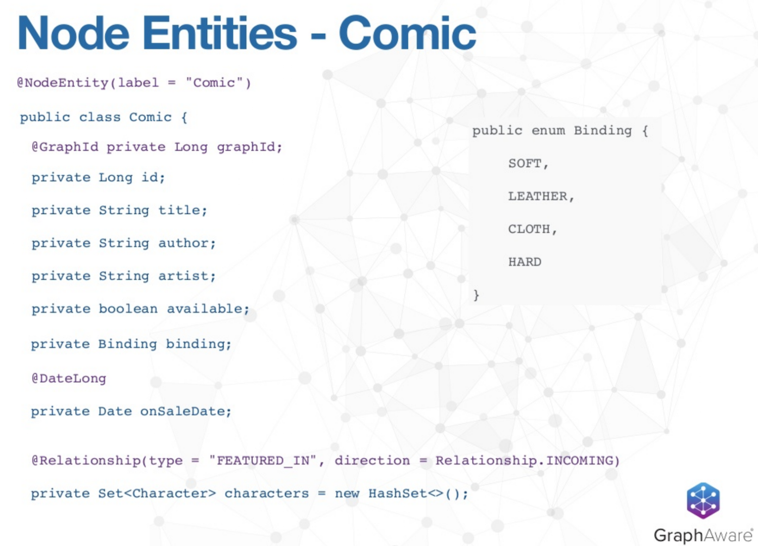 The Node Entities of Each Comic in our Example Spring Data Neo4j 4.1 Application