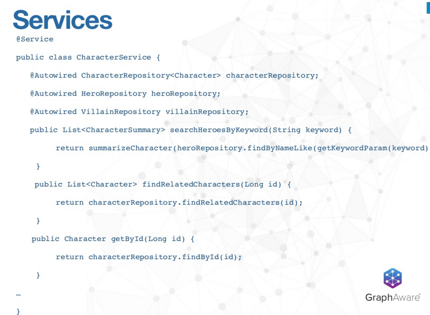 A Services Repository Example using Spring Data Neo4j 4.1