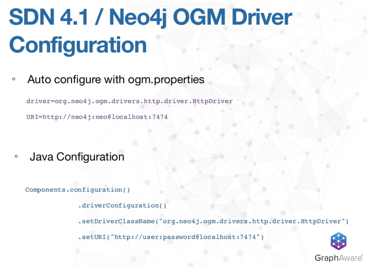 The driver configuration for Spring Data Neo4j 4.1 and the OGM