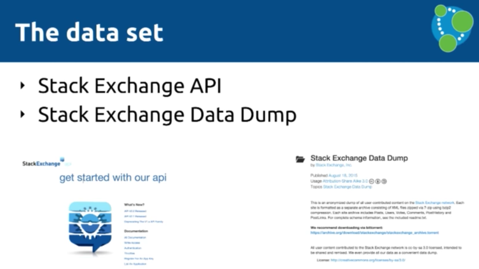 The Stack Exchange API and data dump