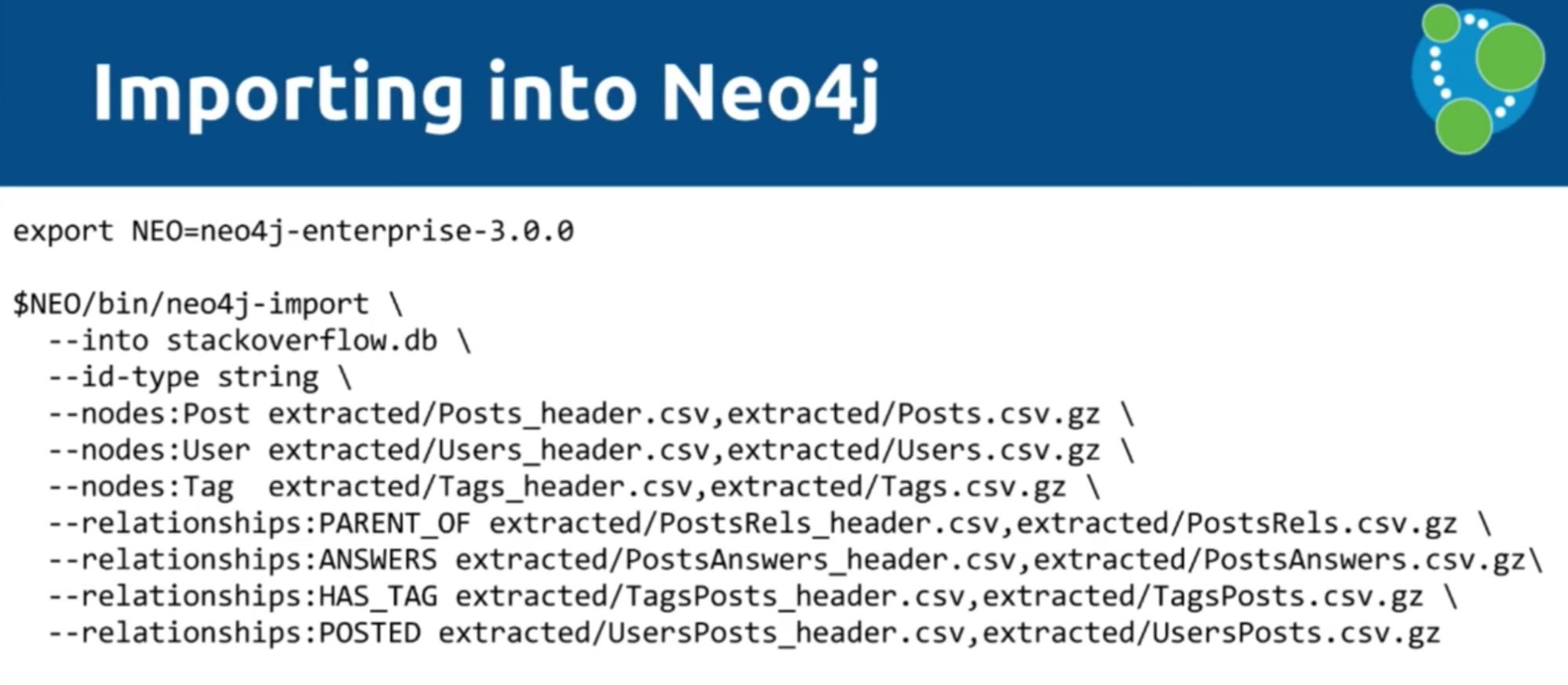 The Neo4j data import process