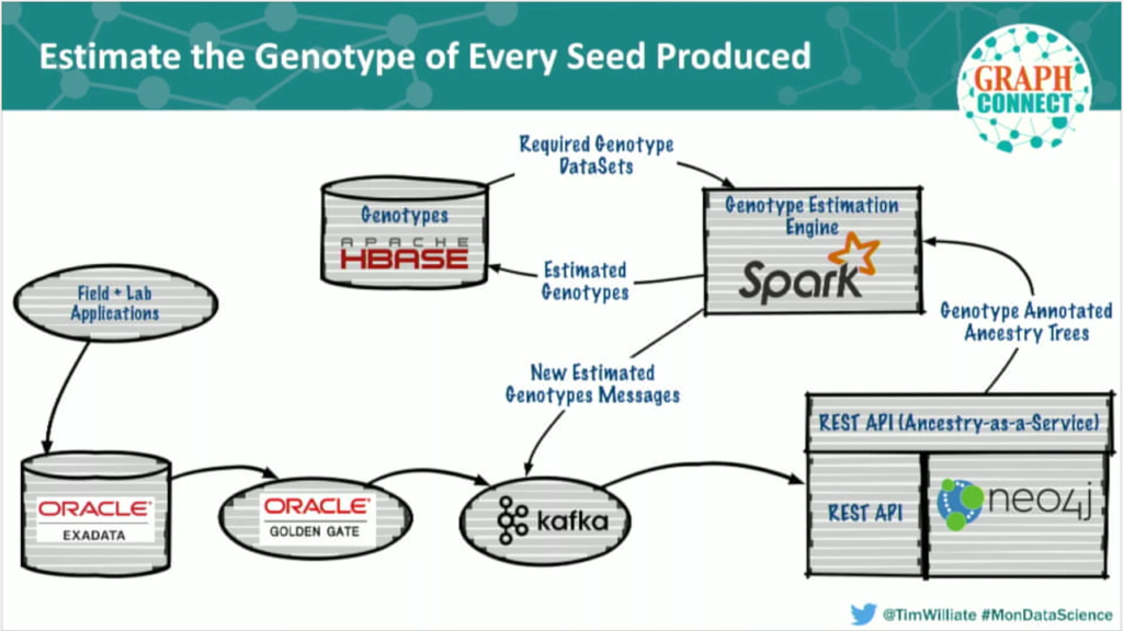 Genotype data estimation architecture: Neo4j, Oracle, Kafka, HBase and Spark
