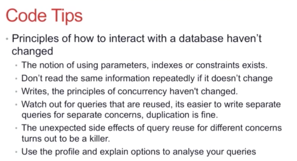 Code tips for general database interaction