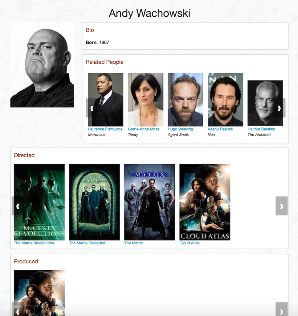 An Andy Wachowski example in a Neo4j and JavaScript sample movies app