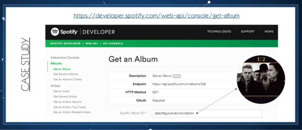 Spotify API depiction of album in JSON