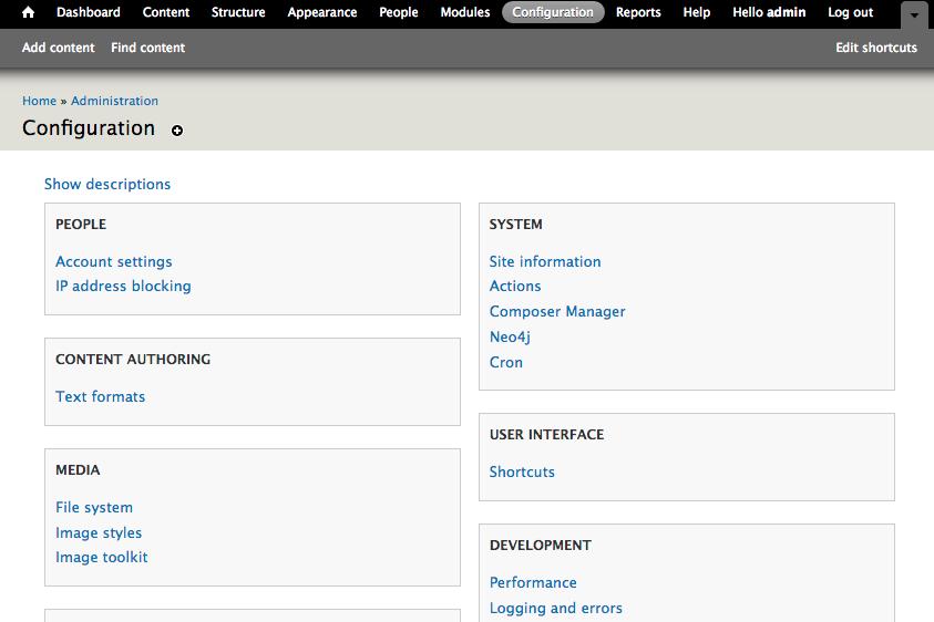Neo4j-Drupal module configuration page