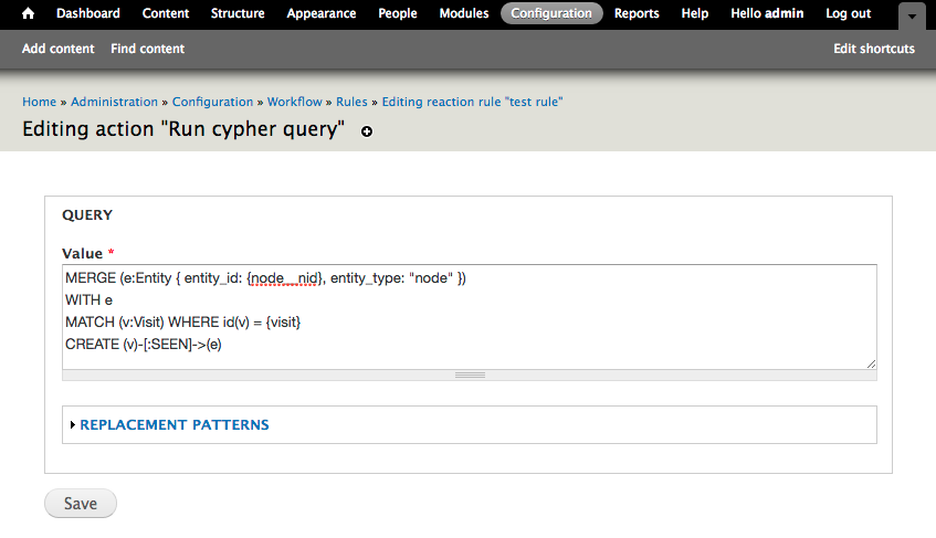 Drupal Rules module with option to run Cypher query