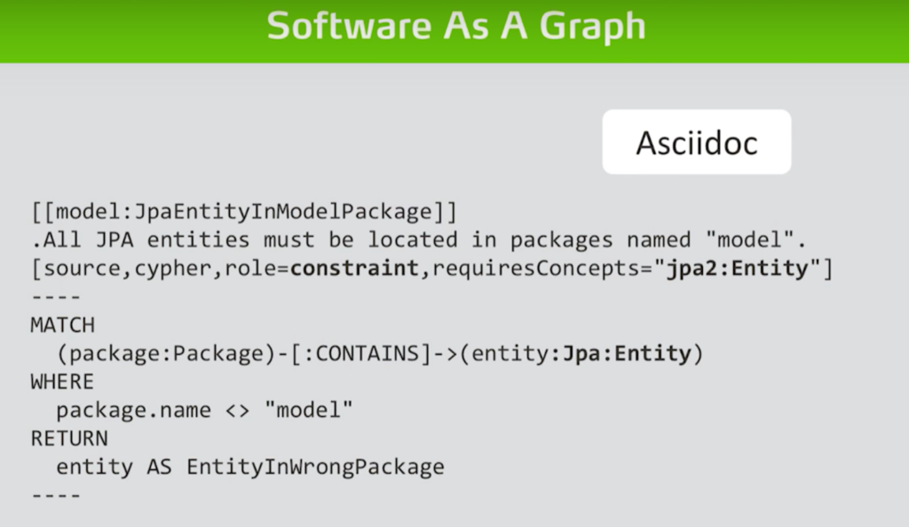 Explore how to use asciidoc to develop rules in graph-powered software analytics tools