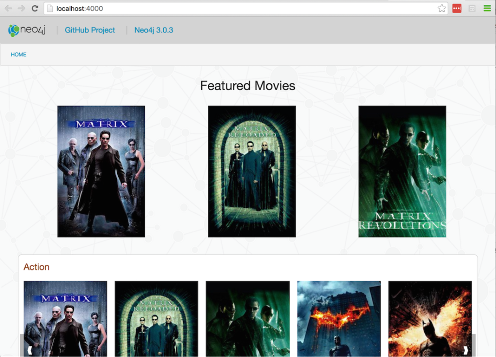 Home page of the Neo4j Flask Movies template app