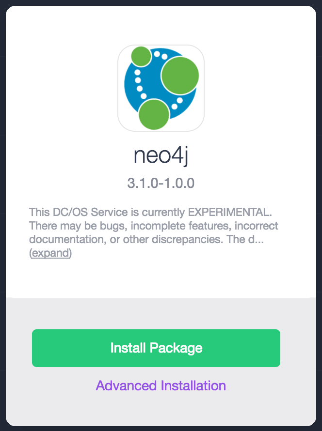 Neo4j DC/OS universe installation package