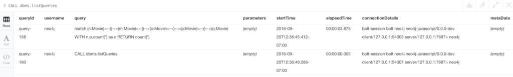 Neo4j query management: list queries