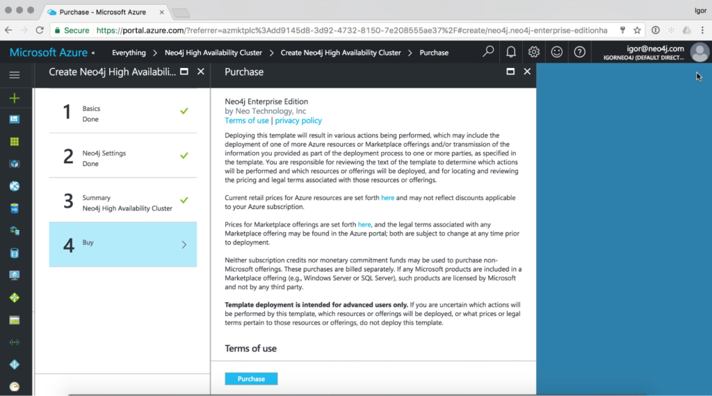 License agreement for Neo4j Enterprise Edition on the Microsoft Azure Marketplace
