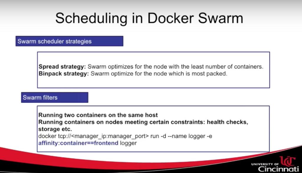 Scheduling docker swarm
