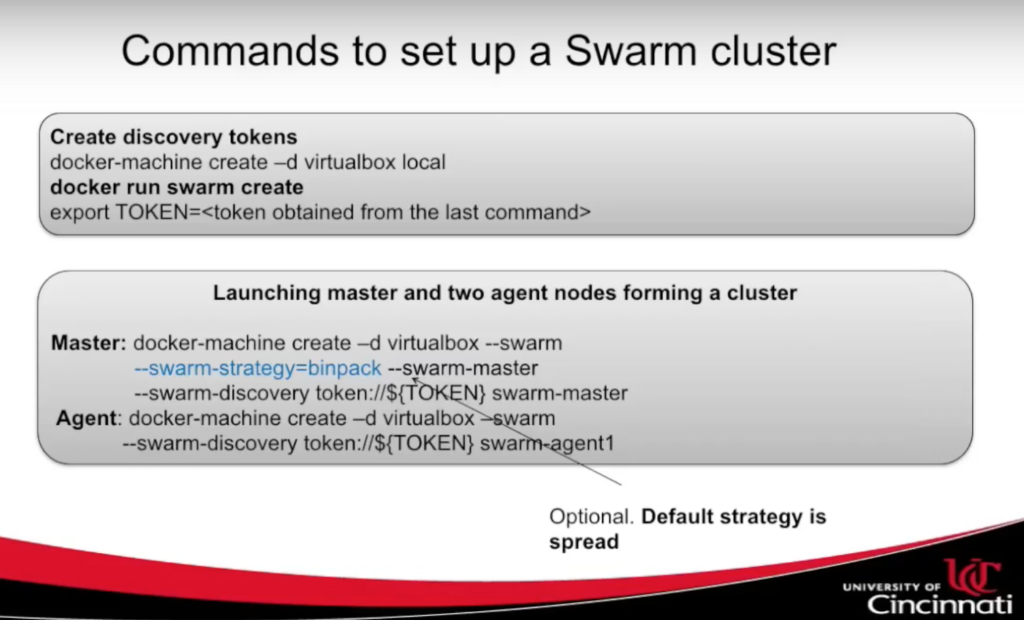 Commands to set up a swarm cluster