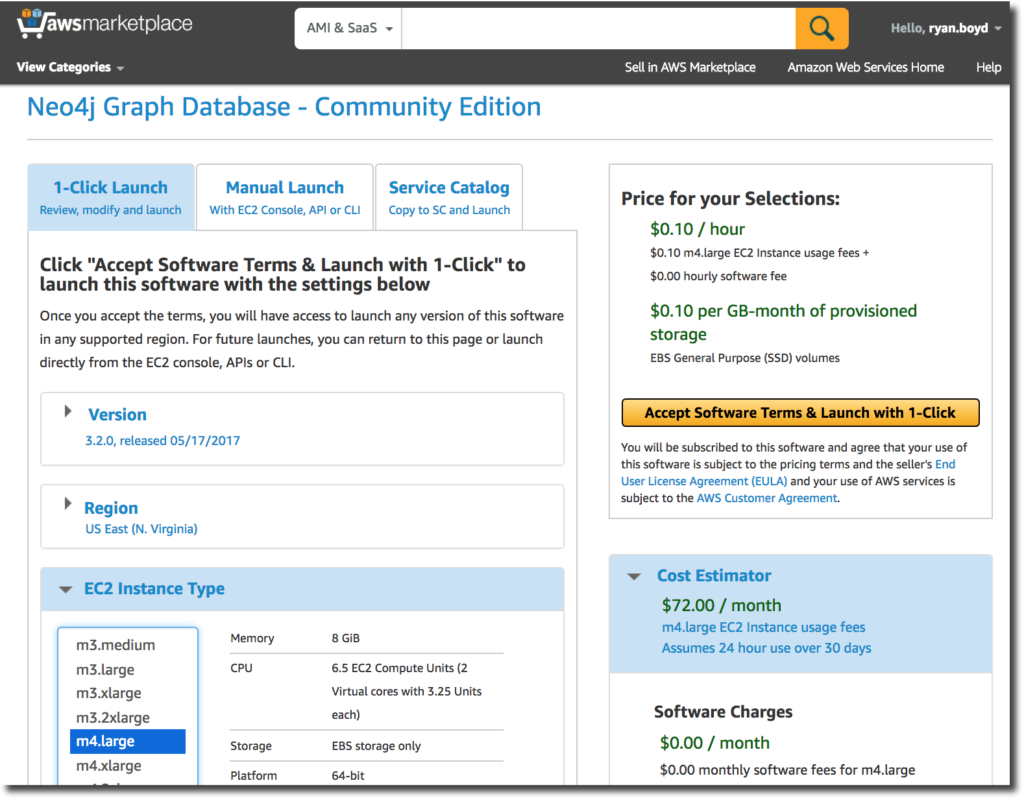 Neo4j 3.2 Community Edition on Amazon Web Services (AWS)