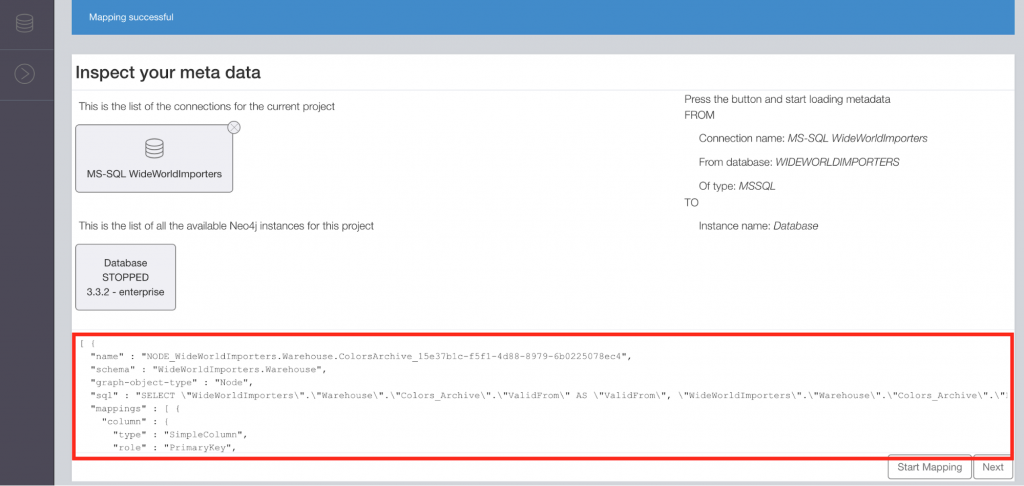 Metadata mapping using the ETL tool for Neo4j