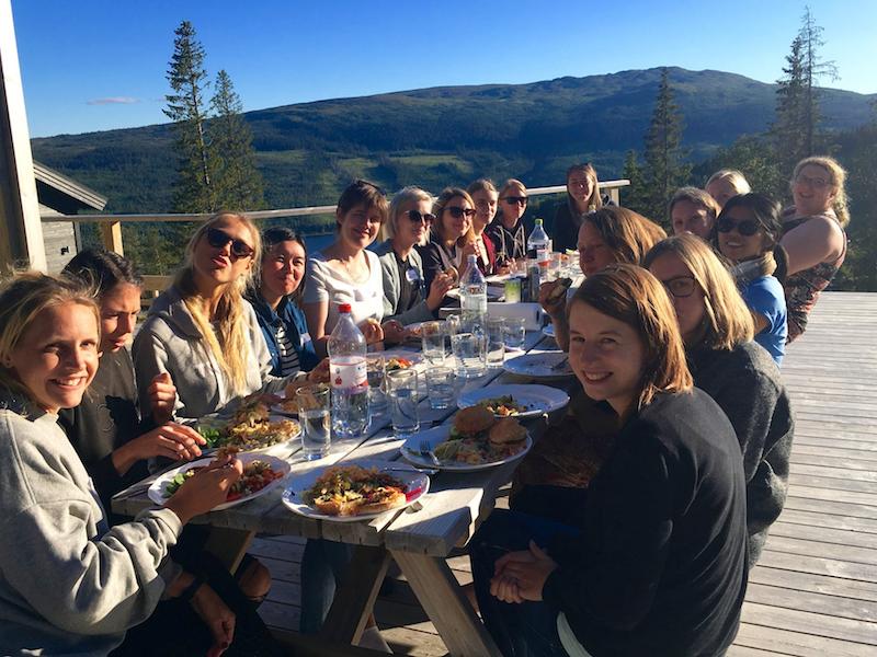 Dining al fresco, Pink Programming data science camp in Sweden.