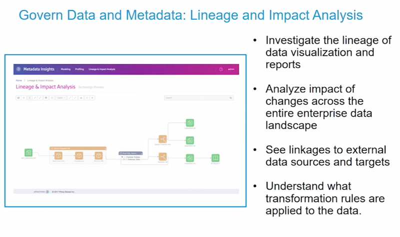 Govern data and metadata, lineage and impact data analysis.