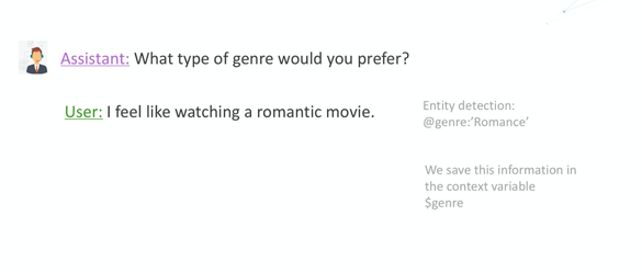 The Cognitiva virtual assistant asks the user about movie genre