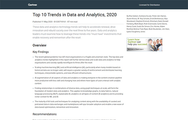 Explore the top 10 trends in data and analytics expected to impact the businesses over the next three to five years.
