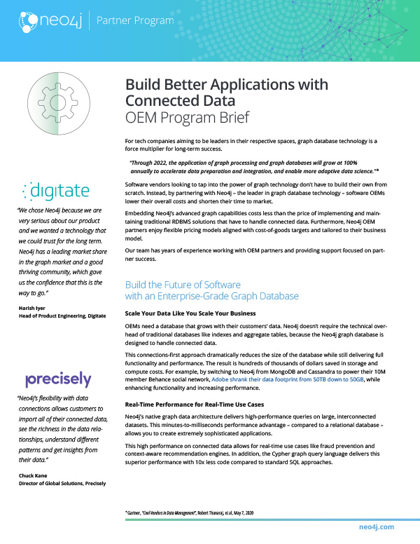 Download this data sheet with all the details about the Neo4j OEM Partner Program.