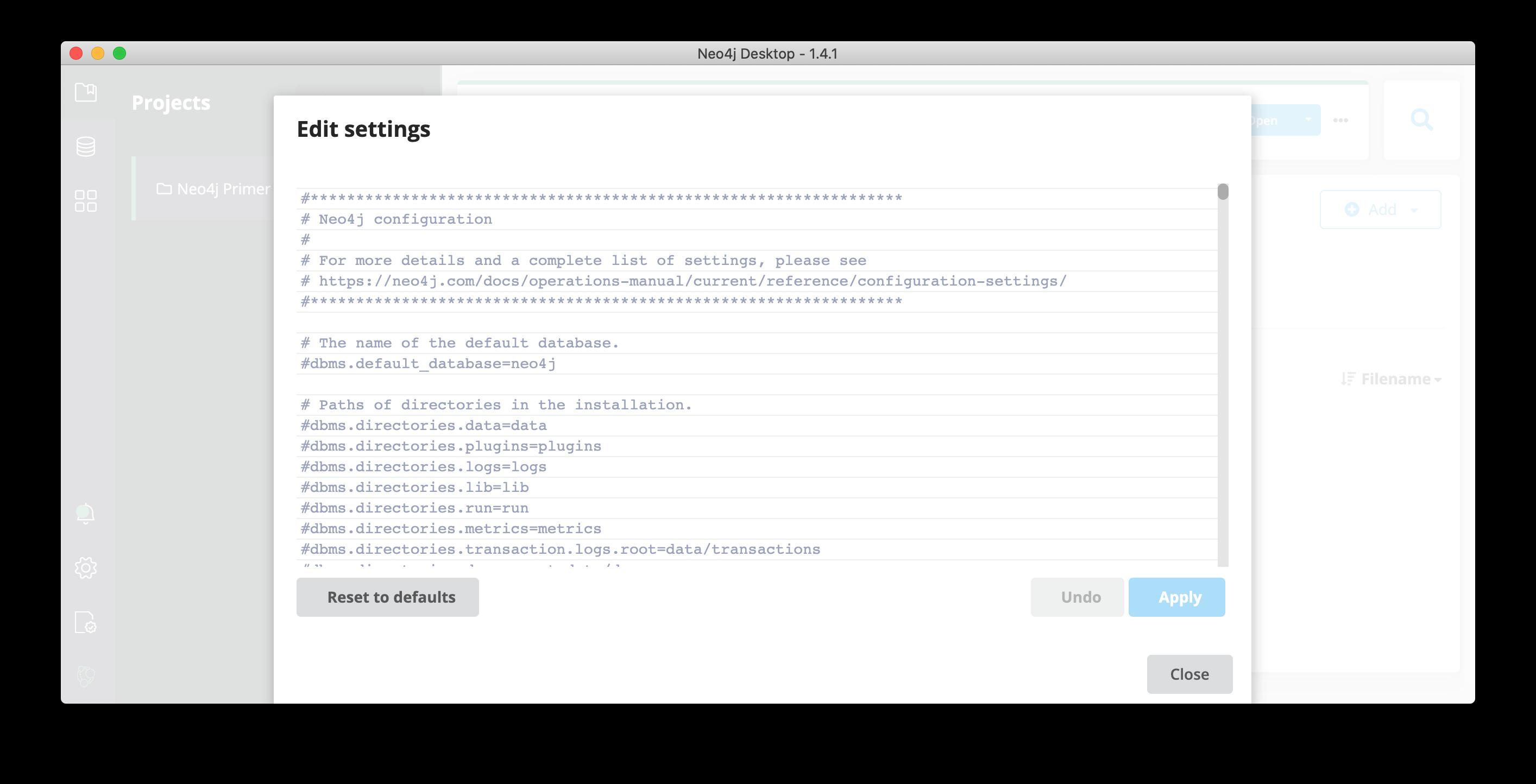 generic edit DBMS settings