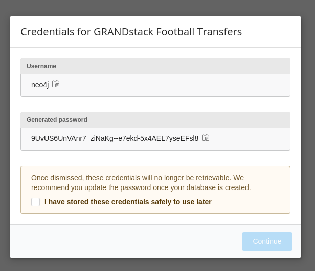 grandstack database password